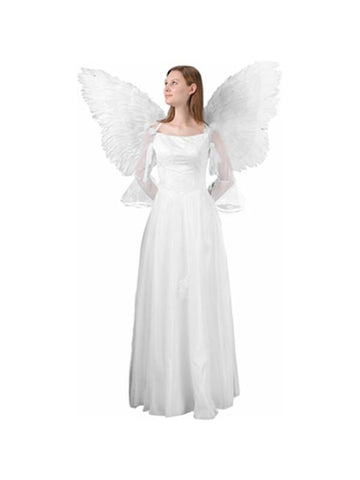 Adult White Feather Flying Angel Wings-COSTUMEISH