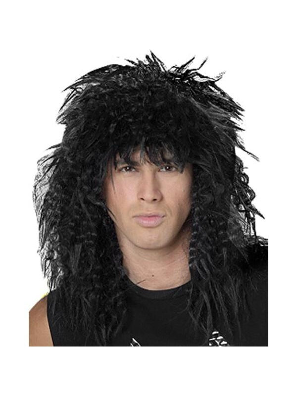 Black 80's Hair Band Wig-COSTUMEISH