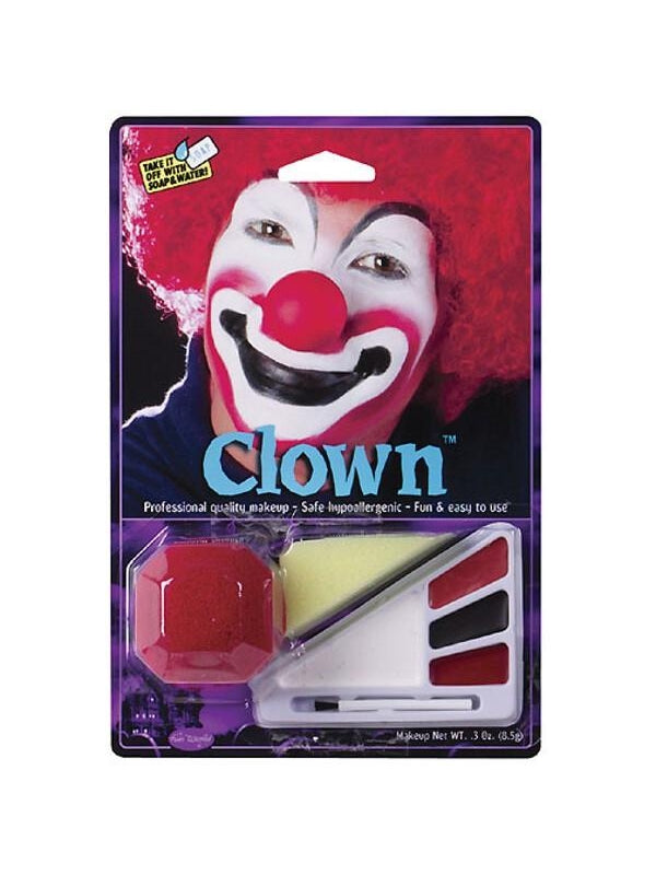 Adult Clown Halloween Makeup Kit W/ Nose-COSTUMEISH