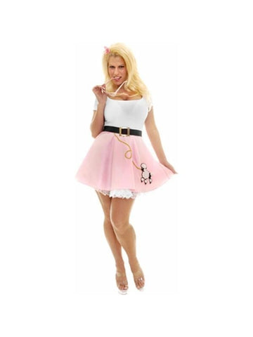 Adult Sexy Pink Poodle Dress Costume-COSTUMEISH