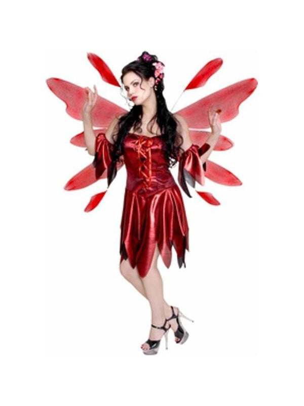 Adult Red Nymph Fairy Costume w/ Wings-COSTUMEISH
