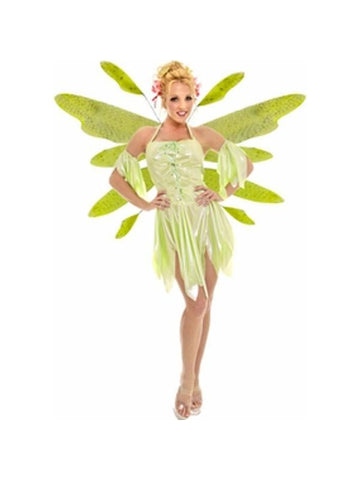 Adult Green Nymph Fairy Dress Costume w/ Wings