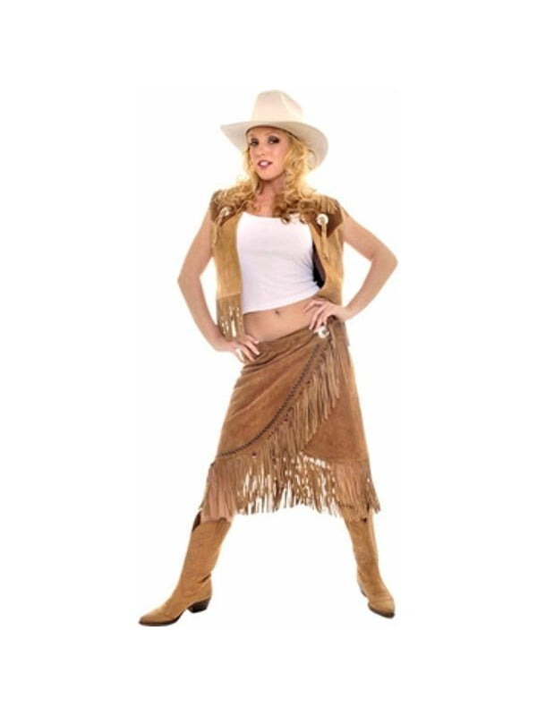 Adult Leather Cowgirl Costume-COSTUMEISH