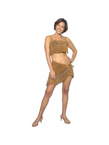 Adult Sexy Suede Leather Sacagawea Indian Costume-COSTUMEISH