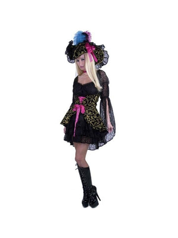 Adult Black Lacey Pirate Lady Costume-COSTUMEISH
