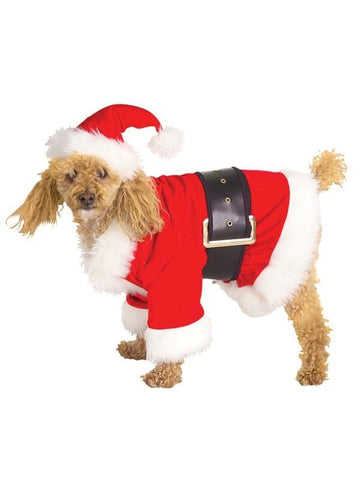 Velour Santa Dog Costume-COSTUMEISH