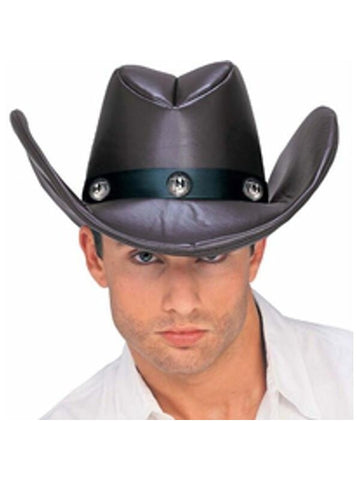 Adult Brown Faux Leather Cowboy Hat-COSTUMEISH