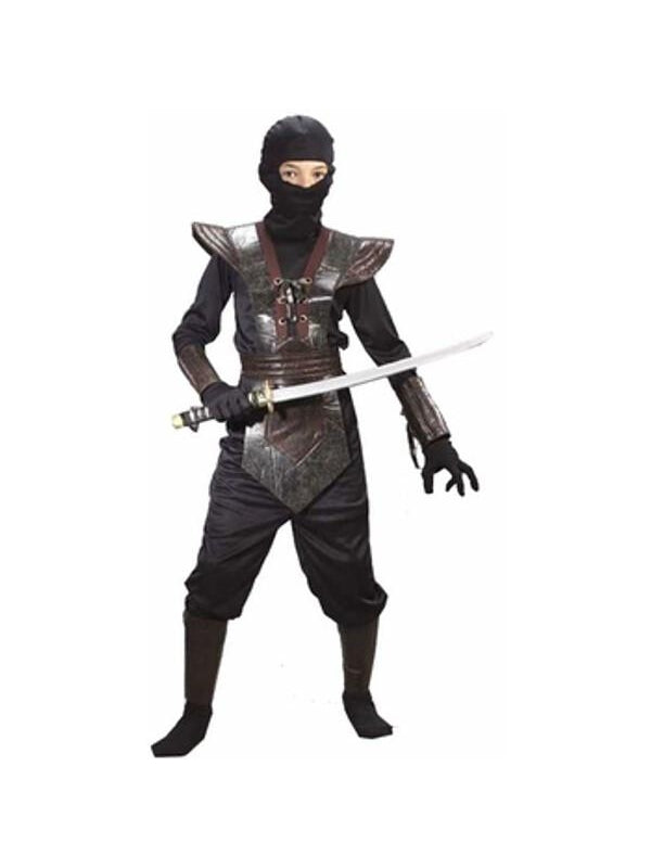 Child Leather Black Ninja Fighter Costume-COSTUMEISH