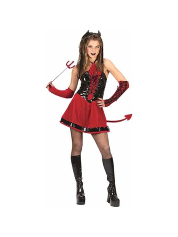 Teen Corsette Devil Girl Costume-COSTUMEISH