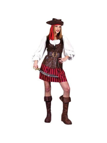 Adult High Seas Buccaneer Pirate Lady Costume-COSTUMEISH