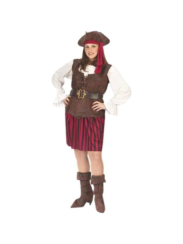 Adult Plus Size High Seas Pirate Lady Costume-COSTUMEISH