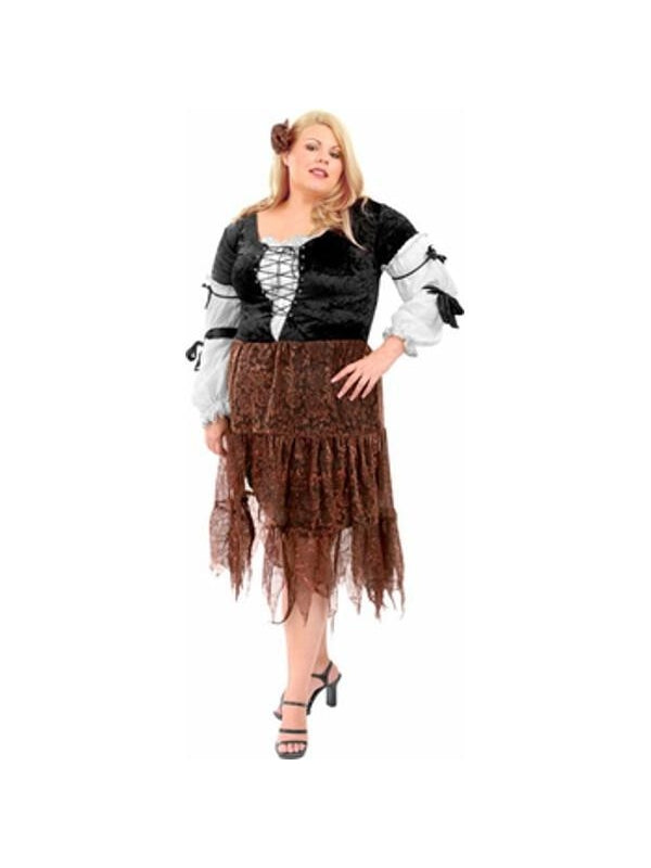 Adult Plus Size Gypsy Pirate Wench Costume-COSTUMEISH