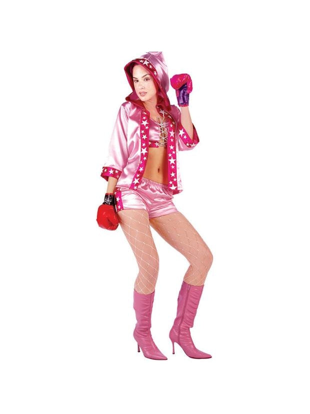 Sexy Pink Boxer Girl Costume-COSTUMEISH
