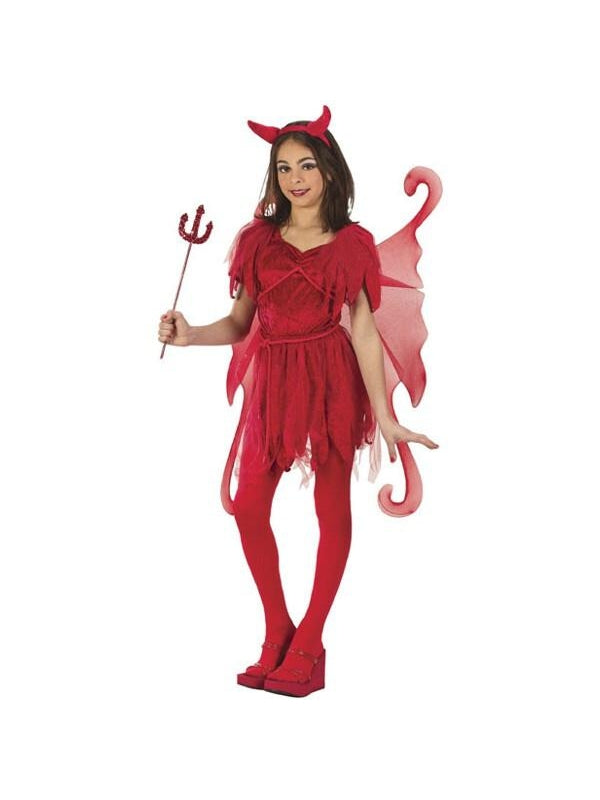 Childs Red Devil Fairy Costume-COSTUMEISH