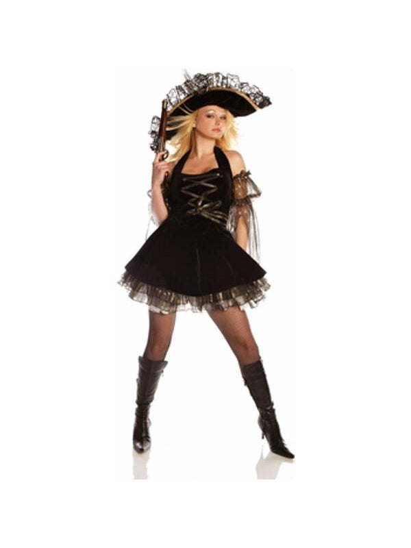 Adult Sexy Gold Digger Pirate Costume-COSTUMEISH
