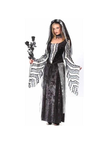 Adult Black Rose Ghost Dress Costume-COSTUMEISH