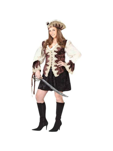 Adult Sexy Plus Size Royal Pirate Costume-COSTUMEISH