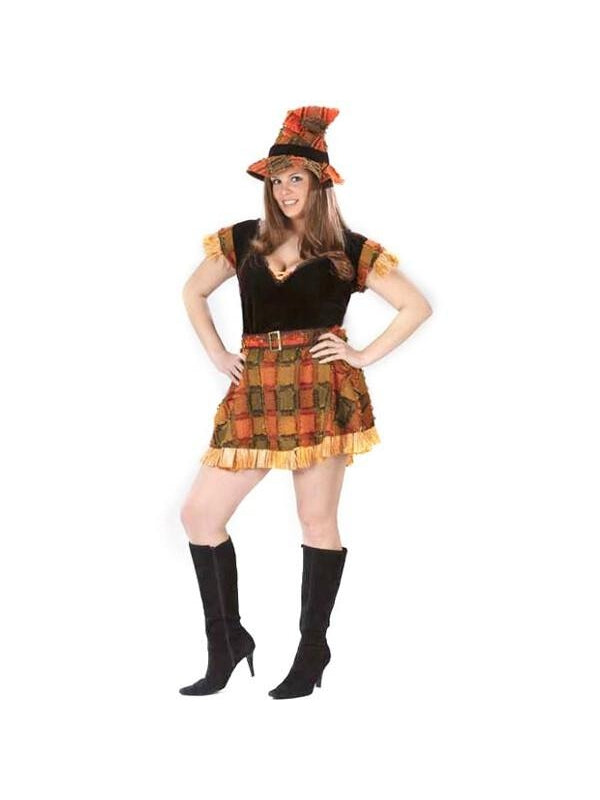 Adult Plus Sexy Scarecrow Costume-COSTUMEISH