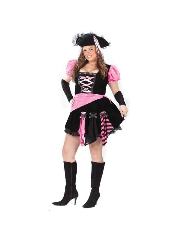 Adult Sexy Plus Size Pink Pirate Costume-COSTUMEISH