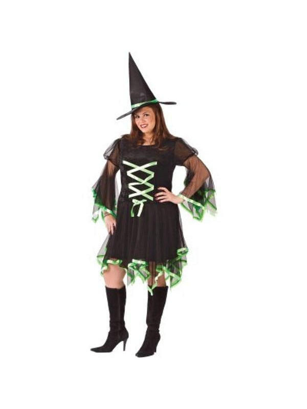 Adult Plus Size Sexy Ribbon Witch Costume-COSTUMEISH