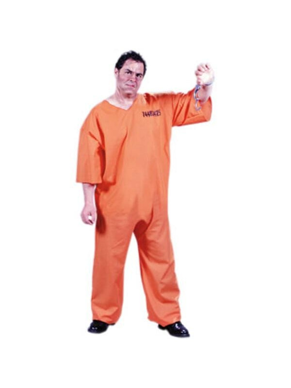 Adult Plus Size Orange Prison Suit Costume-COSTUMEISH