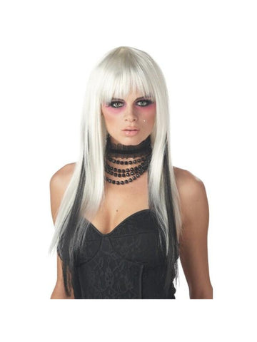 White/Black Long Streaked Wig