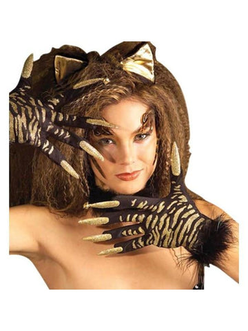 Adult Tiger Gloves With Nails-COSTUMEISH