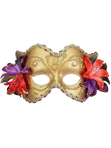 Adult Gold Venetian Half Mask With Flowers