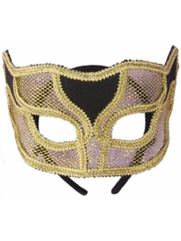 Adult Gold Netted Mardi Gras Half Mask-COSTUMEISH