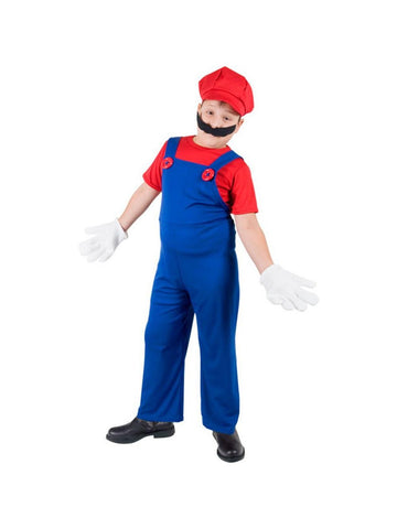 Child Super Plumber Brothers Costume