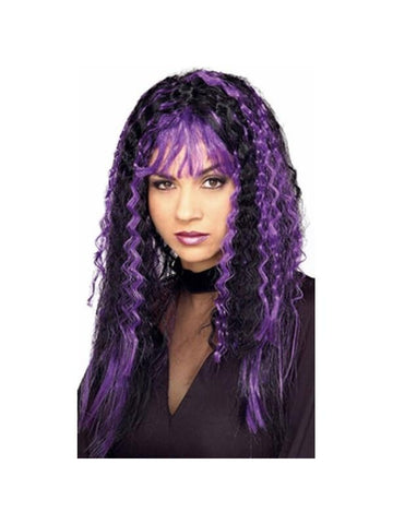 Black and Purple Crimped Costume Wig-COSTUMEISH