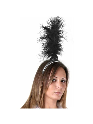 Black 20's Flapper Feather Headpiece
