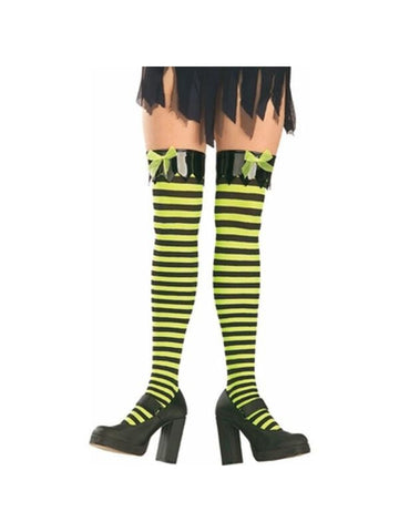 Adult Black and Yellow Thigh High Tights-COSTUMEISH