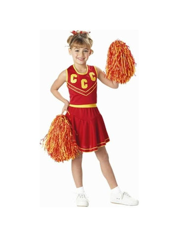 Child's Red & Gold Cheerleader Costume-COSTUMEISH