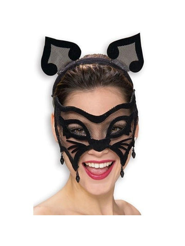 Black Cat Venetian Mask & Ears-COSTUMEISH