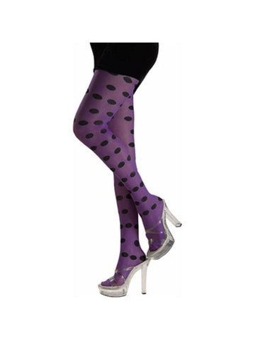 Adult Purple / Black Polka Dot Tights-COSTUMEISH