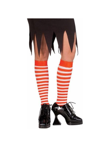Red / White Striped Knee High Socks-COSTUMEISH