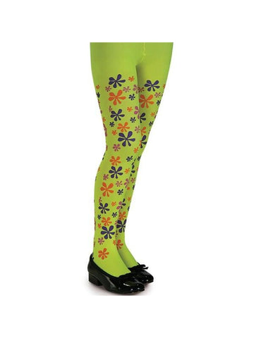 Child's Lime Flower Power Tights