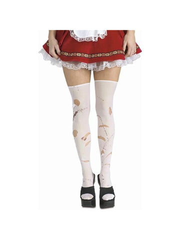 Adult White Ripped Stockings-COSTUMEISH