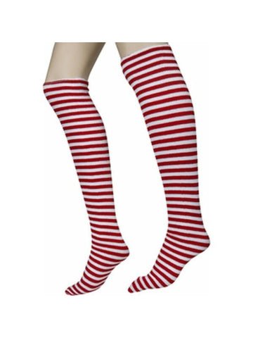 Red & White Striped Socks-COSTUMEISH