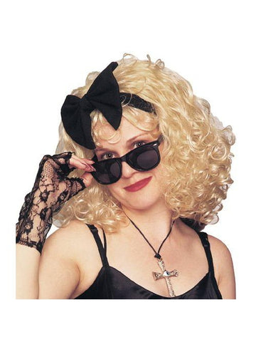 80s Pop Star Blonde Wig with Bow-COSTUMEISH