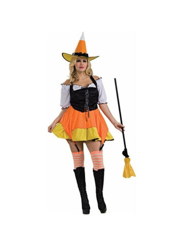 Adult Sexy Plus Size Candy Corn Witch Costume-COSTUMEISH