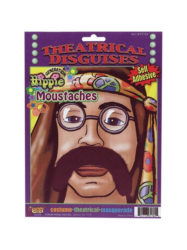 Adult 60's Hippie Style Costume Moustache-COSTUMEISH