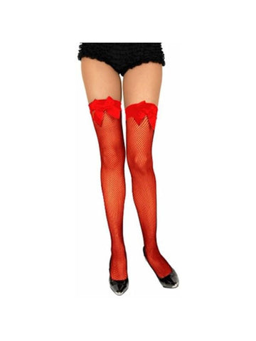 Adult Red Fishnet Thigh High Stockings With Lace Top & Bow-COSTUMEISH