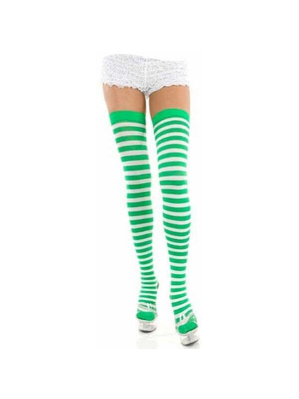 Adult Green & White Striped Thigh High Stockings-COSTUMEISH