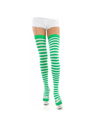 Adult Green & White Striped Thigh High Stockings