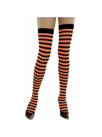 Adult Orange & Black Striped Thigh High Stockings