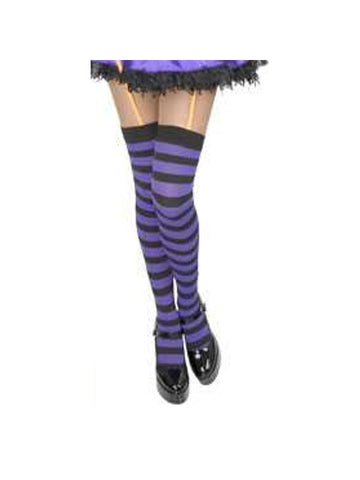 Adult Purple & Black Striped Thigh High Stockings
