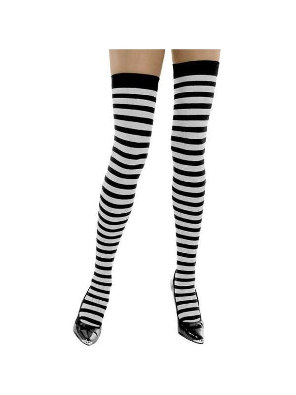 Adult White & Black Striped Thigh High Stockings-COSTUMEISH