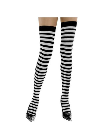 Adult White & Black Striped Thigh High Stockings